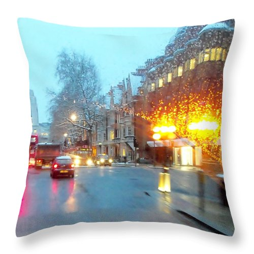 Touring Throw Pillow featuring the photograph City Lights In London England by Jan Moore