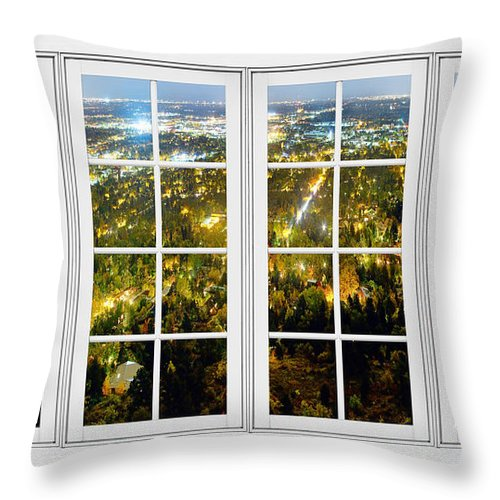 Windows Throw Pillow featuring the photograph City Lights White Window Frame View by James BO Insogna
