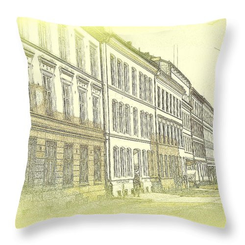 Sheep Throw Pillow featuring the photograph they say it is a living city but I don't know by Hilde Widerberg