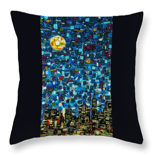 Mosaic Throw Pillow featuring the painting City Mosaic by Joel Tesch