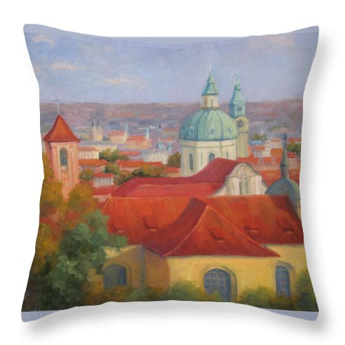 Prague Throw Pillow featuring the painting City Of A Thousand Spires by Bunny Oliver