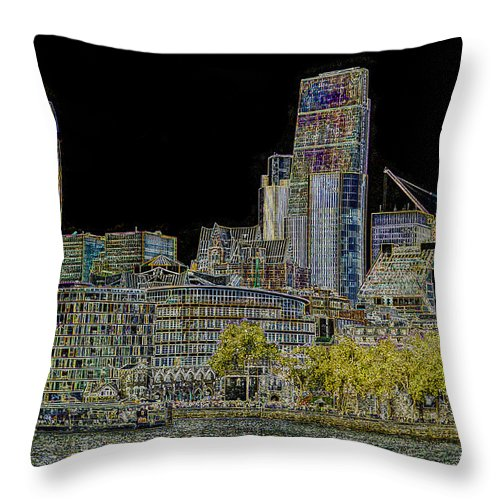 Art Throw Pillow featuring the digital art City Of London Art by David Pyatt