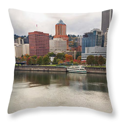Portland Throw Pillow featuring the photograph City Of Portland Oregon In The Fall Panorama by Jit Lim