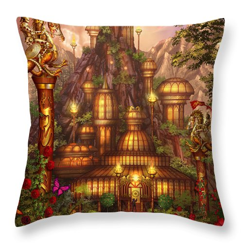 Ciro Marchetti Throw Pillow featuring the digital art City Of Wands by MGL Meiklejohn Graphics Licensing