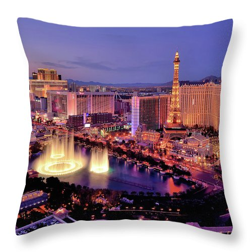 Built Structure Throw Pillow featuring the photograph City Skyline At Night With Bellagio by Rebeccaang