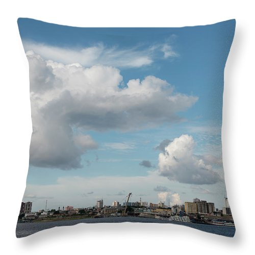 Amazon Region Throw Pillow featuring the photograph City Skyline, Manaus, Brazil by Chris Linder