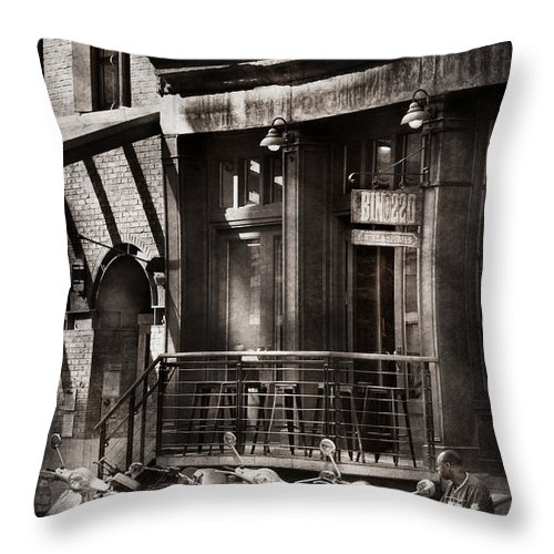 Ny Throw Pillow featuring the photograph City - South Street Seaport - Bingo 220 by Mike Savad
