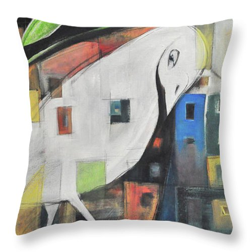 Bird Throw Pillow featuring the painting City Strut by Tim Nyberg