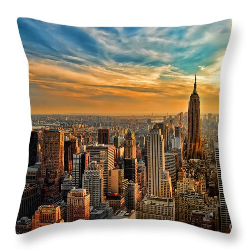New York City Throw Pillow featuring the photograph City Sunset New York City Usa by Sabine Jacobs