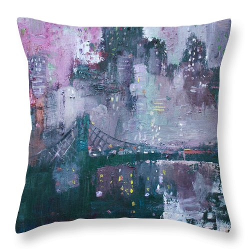 Brooklyn Bridge Throw Pillow featuring the painting City That Never Sleeps by Ylli Haruni