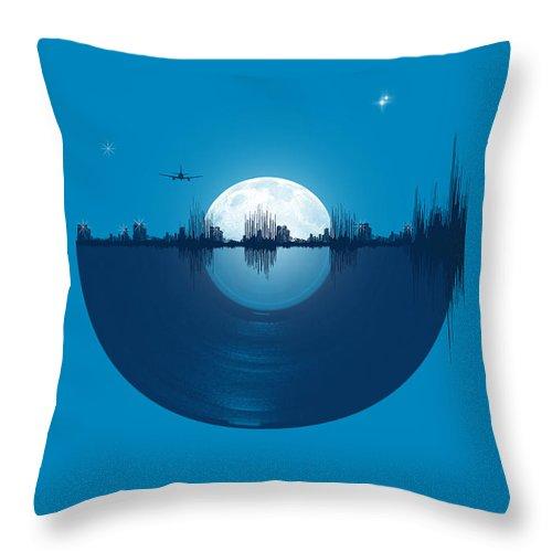 City Throw Pillow featuring the digital art City tunes by Neelanjana Bandyopadhyay