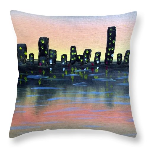 Landscape Throw Pillow featuring the painting City Water by Alfred Britt