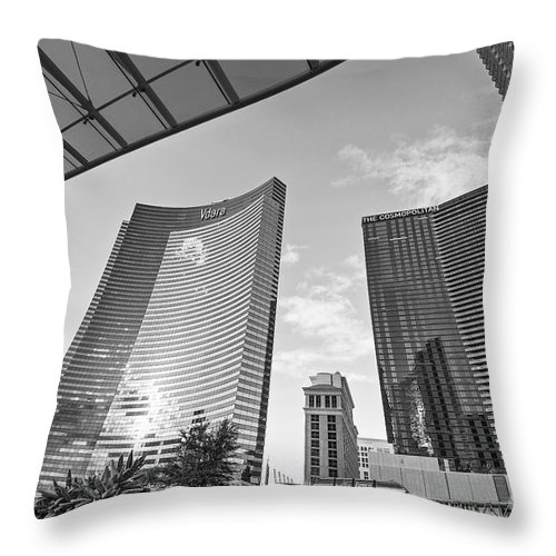 Vdara Hotel And Spa Throw Pillow featuring the photograph Citycenter - View Of The Vdara Hotel And Spa Located In Citycenter In Las Vegas by Jamie Pham