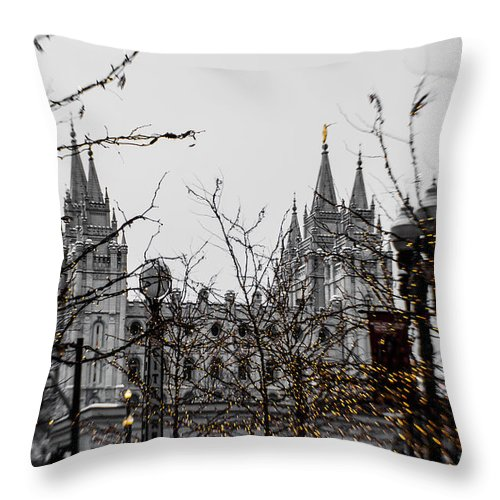 Christmas Throw Pillow featuring the photograph Citycreek Slc Temple Golden by La Rae Roberts
