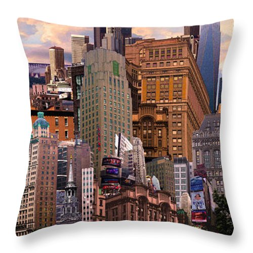 Cityscape Throw Pillow featuring the digital art Cityscape Dream by Paul Gentille