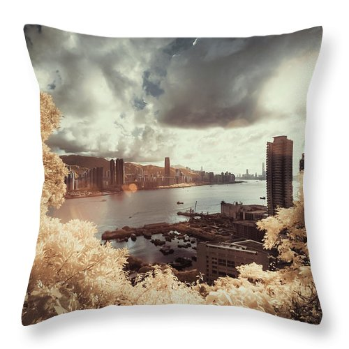 Treetop Throw Pillow featuring the photograph Cityscape In Dream by D3sign