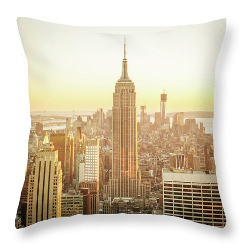Scenics Throw Pillow featuring the photograph Cityscape Manhattan Sunset New York by Mlenny