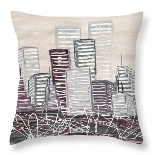 Melissa Smith Throw Pillow featuring the painting Cityscape by Melissa Smith