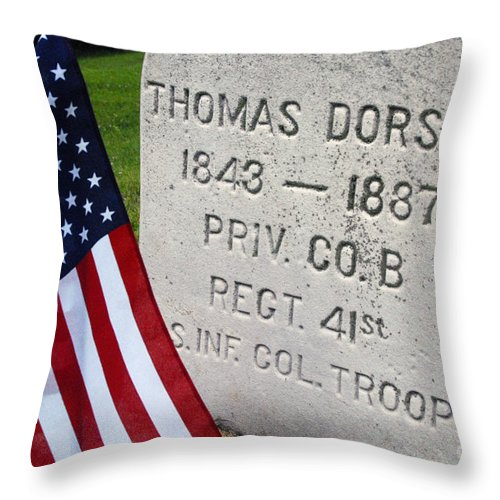 Cemetery Throw Pillow featuring the photograph Civil War Colored Troop by Paul W Faust - Impressions of Light