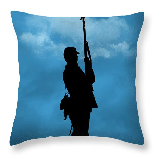 Soldier Throw Pillow featuring the photograph Civil War Soldier Silhouette by Cindy Haggerty