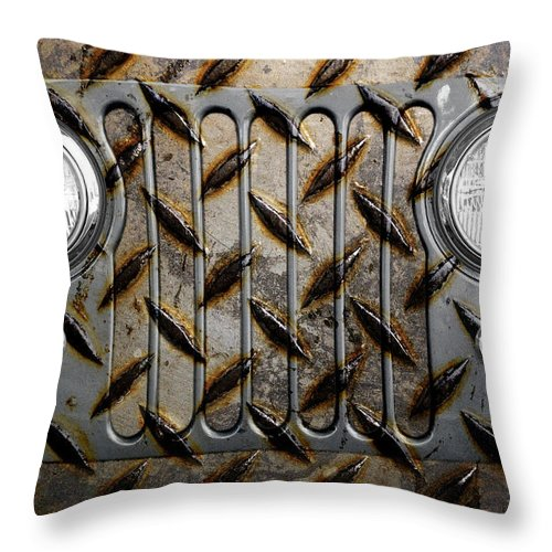 Jeep Throw Pillow featuring the photograph Civilian Jeep- Steel Gray by Luke Moore