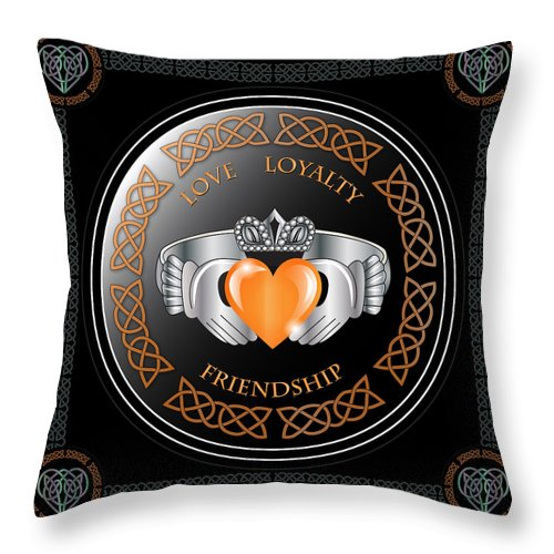 Claddagh Ring Throw Pillow featuring the digital art Claddagh Ring by Ireland Calling