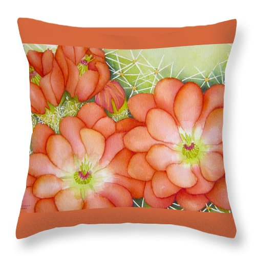 Claret Cup Throw Pillow featuring the painting Claret Cups by Lynn Morgan -              L L Morgan Art