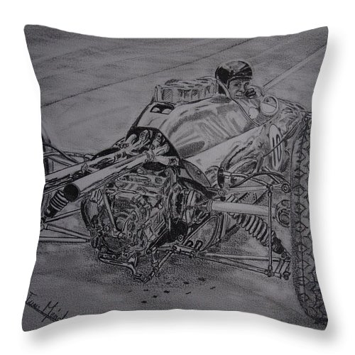 Jim Clark Throw Pillow featuring the drawing Clark And The Lotus 25 by Juan Mendez