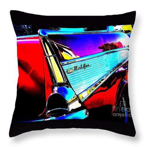 Chevy Throw Pillow featuring the photograph Classic 57 Chevy Art by Bobbee Rickard