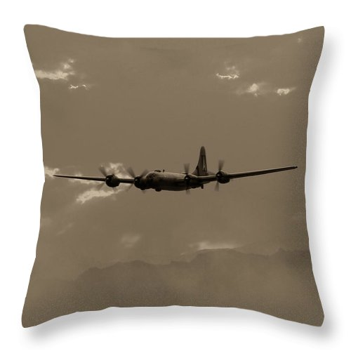 Aircraft Throw Pillow featuring the photograph Classic B-29 Bomber Aircraft In Flight by Amy McDaniel