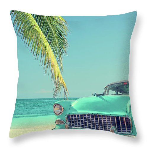 Scenics Throw Pillow featuring the photograph Classic Car On A Tropical Beach With by Delpixart