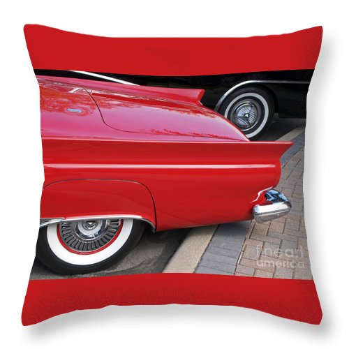 Classic Car Throw Pillow featuring the photograph Classic Red And Black by Ann Horn
