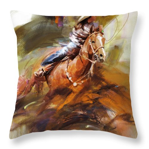 Rodeo Throw Pillow featuring the painting Classic Rodeo 6 by Maryam Mughal