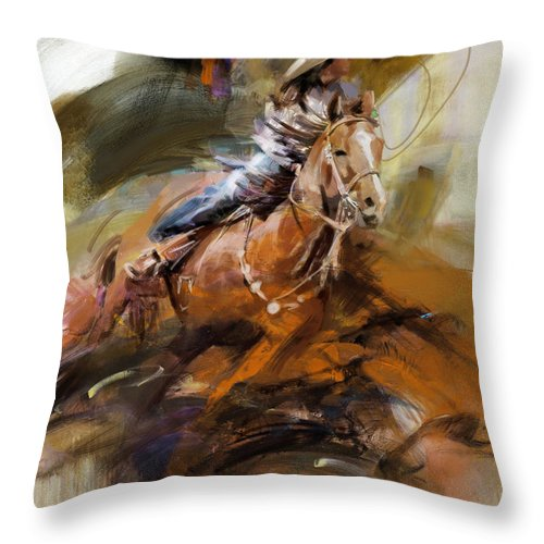 Rodeo Throw Pillow featuring the painting Classic Rodeo 6b by Maryam Mughal