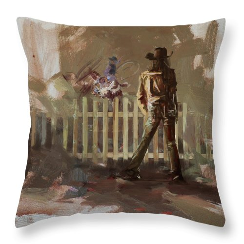 Rodeo Throw Pillow featuring the painting Classic Rodeo 9 by Maryam Mughal