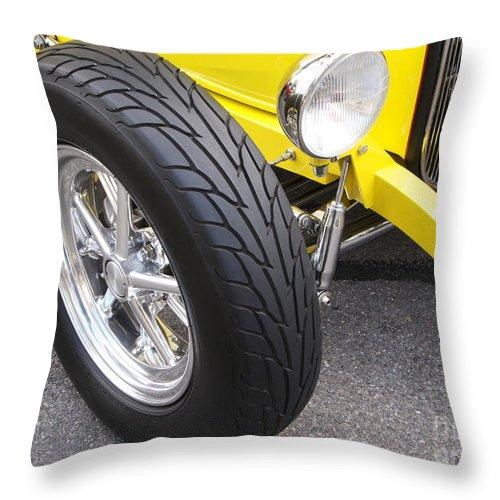 Classic Car Throw Pillow featuring the photograph Classic Tire Tread by Ann Horn