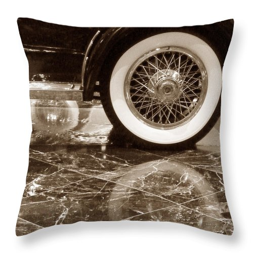 Vintage Throw Pillow featuring the photograph Classic Wheels Sepia by Cheryl Del Toro