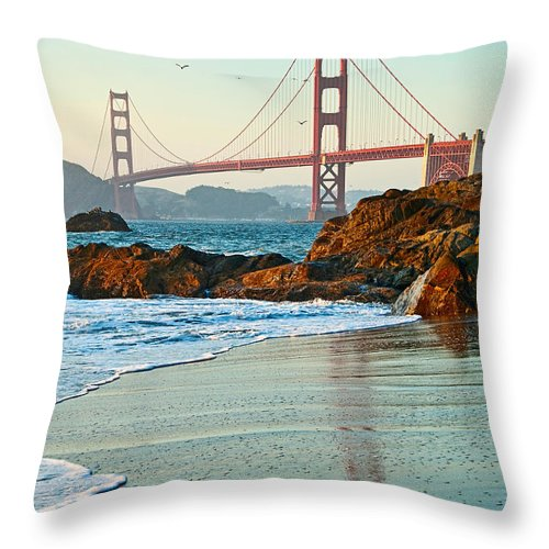 Golden Gate Bridge Throw Pillow featuring the photograph Classic - World Famous Golden Gate Bridge With A Scenic Beach And Birds. by Jamie Pham