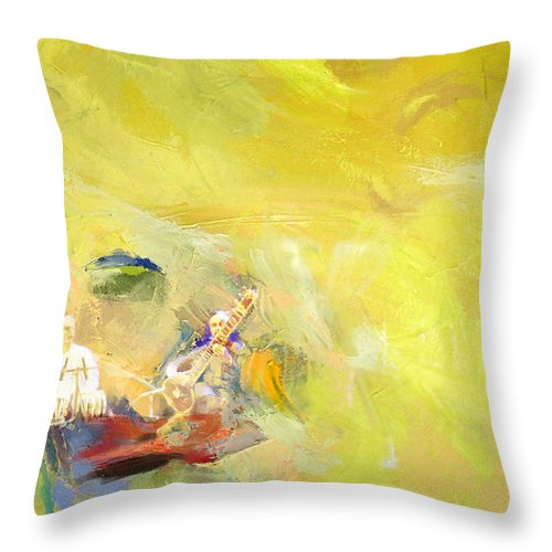 Zakir Throw Pillow featuring the painting Classical Music by Catf