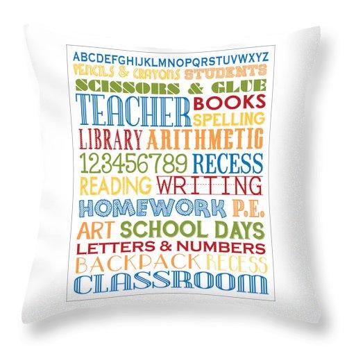 Subway+art Throw Pillow featuring the digital art Classroom Subway Art Poster by Jaime Friedman
