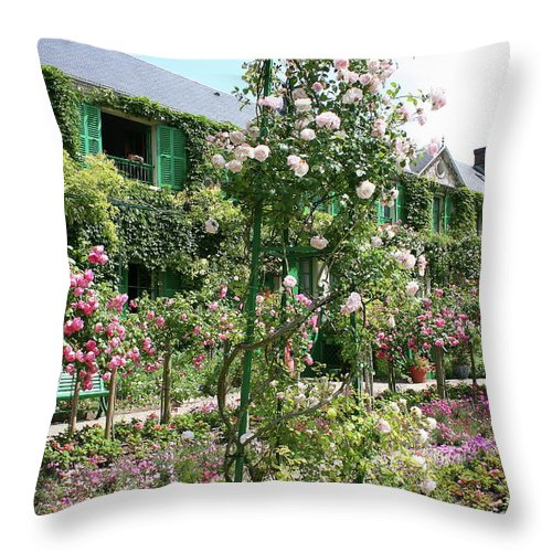 House Throw Pillow featuring the photograph Claude Monets House - Giverney by Christiane Schulze Art And Photography