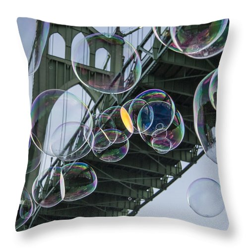 Bubbles Throw Pillow featuring the photograph Cleaning The Bridge With Bubbles by Jean Noren