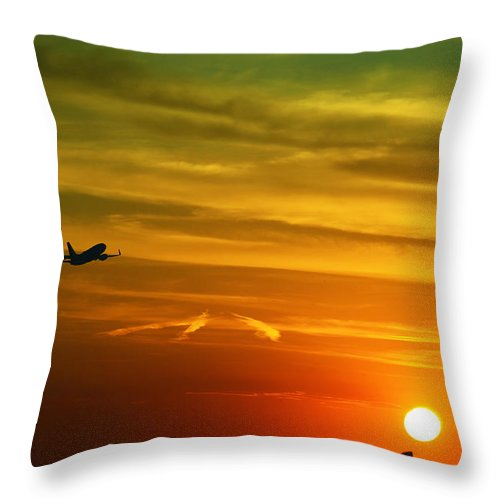 Take Off Throw Pillow featuring the photograph Cleared For Takeoff by Gary Mosman
