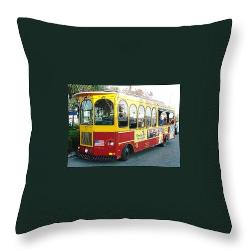 Jolly Trolley Throw Pillow featuring the photograph Clearwater Jolly by David Nicholls