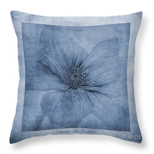 Clematis Textures Throw Pillow featuring the photograph Clematis Cyanotype by John Edwards