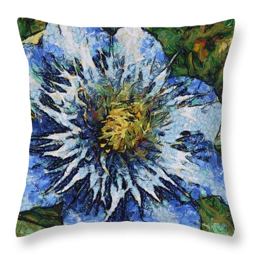 Bloom Throw Pillow featuring the painting Clematis by Jeffrey Kolker
