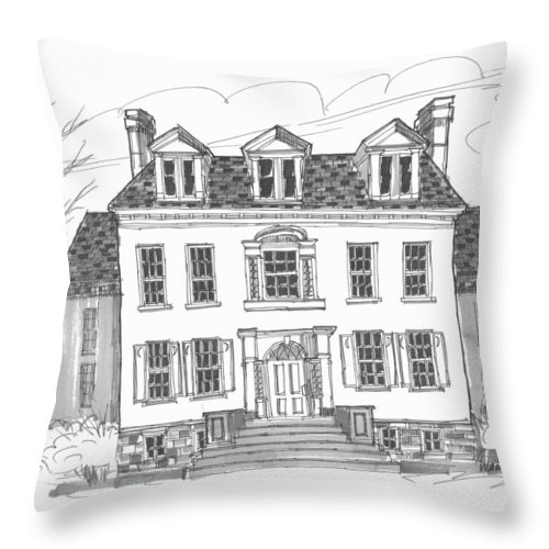Clermont Estate Throw Pillow featuring the drawing Clermont Historic Site by Richard Wambach