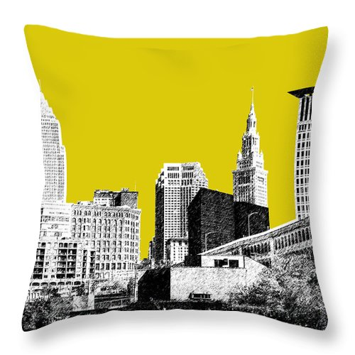 Architecture Throw Pillow featuring the digital art Cleveland Skyline 3 - Mustard by DB Artist