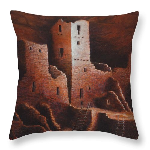 Anasazi Throw Pillow featuring the painting Cliff Palace by Jerry McElroy