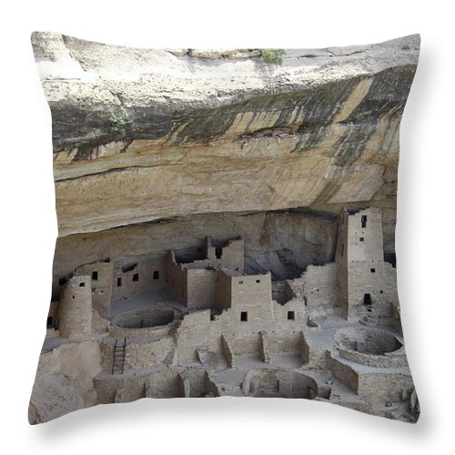 Spruce Tree House Throw Pillow featuring the photograph Cliff Palace Overview by Christiane Schulze Art And Photography